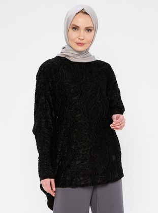 Black - Crew neck - Nylon - Tunic