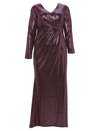 Fuchsia - Fully Lined - V neck Collar - Muslim Plus Size Evening Dress
