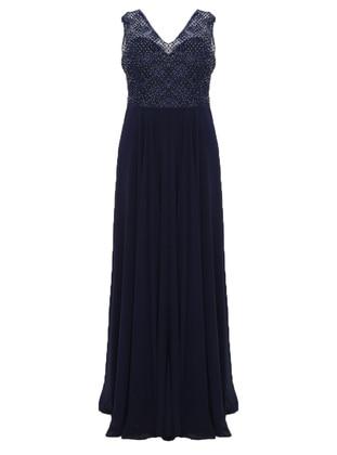 Navy Blue - Fully Lined - V neck Collar - Muslim Plus Size Evening Dress
