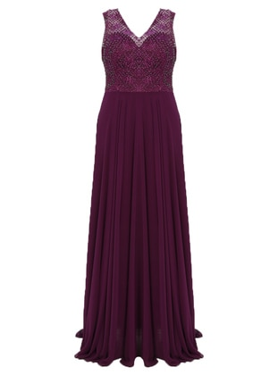 Plum - Fully Lined - V neck Collar - Muslim Plus Size Evening Dress