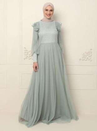 Green Almond - Fully Lined - Crew neck - Muslim Evening Dress