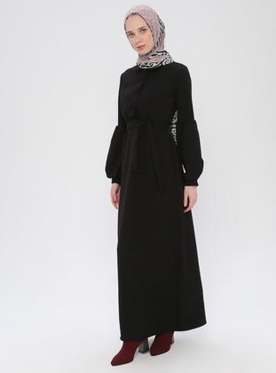 Black - Black - Round Collar - Unlined - Dress