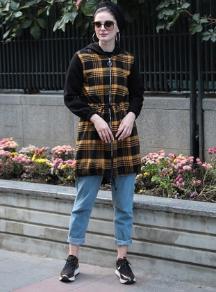 Mustard - Plaid - Unlined -  - Puffer Jackets - Selma Sarı Design