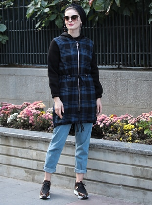 Navy Blue - Plaid - Unlined -  - Puffer Jackets - Selma Sarı Design