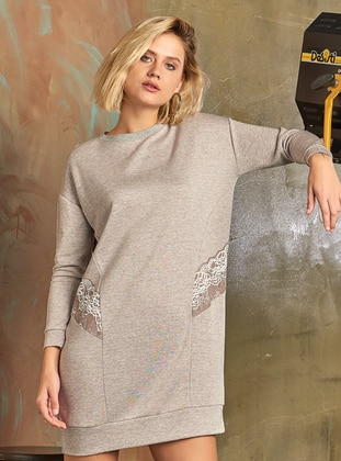 Gray - Viscose - Loungewear Dresses