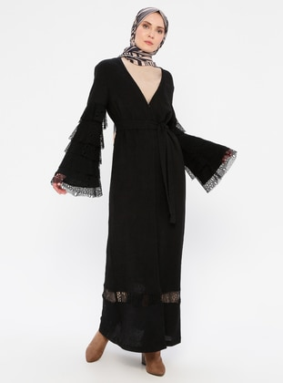 Black - Unlined - V neck Collar - Viscose - Abaya