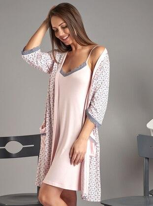 Pink - Viscose - Morning Robe - Sevim