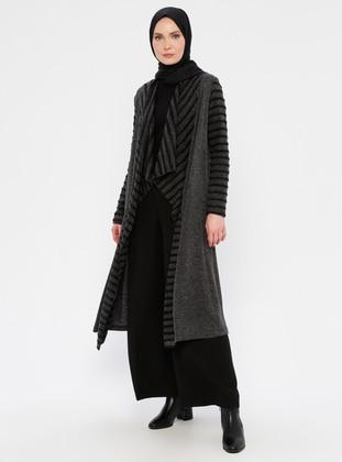 Black - Shawl Collar -  - Viscose - Cardigan