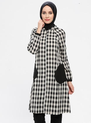 Black - Checkered - Unlined - Topcoat