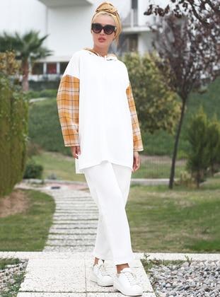 White - Mustard - Plaid - Unlined - Suit