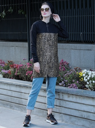 Black - Leopard -  - Tunic