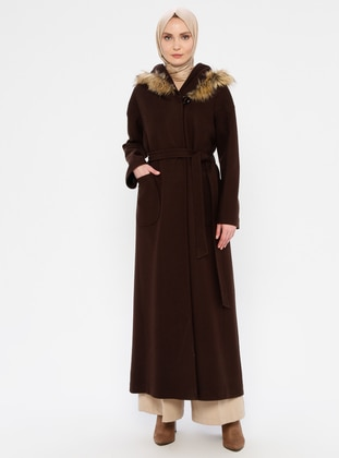 Brown - Fully Lined - Wool Blend - Coat - Olcay