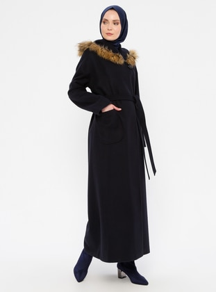 Navy Blue - Fully Lined - Wool Blend - Coat