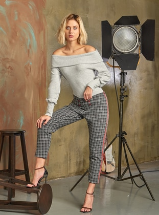 Gray - Boat neck - Viscose - Pyjama Set