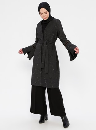 Anthracite - Fully Lined - V neck Collar - Viscose - Topcoat