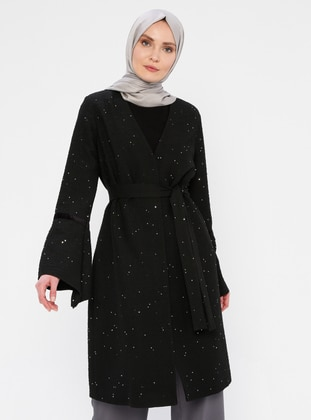 Black - Fully Lined - V neck Collar - Viscose - Topcoat