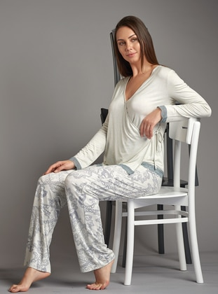 Blue - V neck Collar - Viscose - Pyjama Set