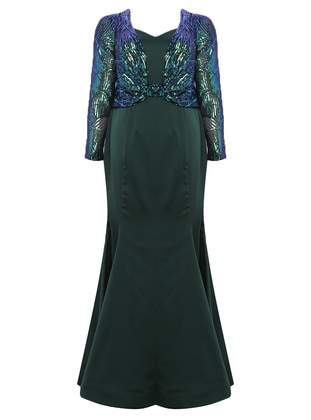 Emerald - Fully Lined - V neck Collar - Modest Plus Size Evening Dress