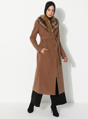 Tan - Unlined - V neck Collar - Coat