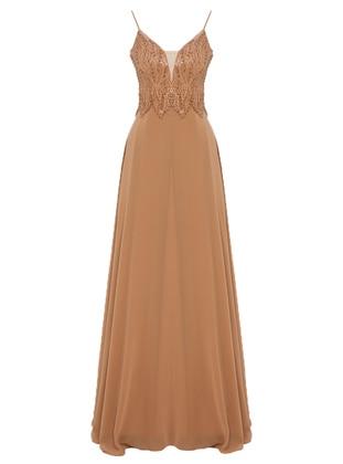 Camel - Fully Lined - V neck Collar - Muslim Evening Dress