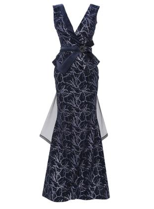 Navy Blue - Floral - Fully Lined - V neck Collar - Muslim Evening Dress