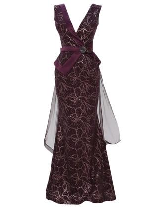 Purple - Floral - Fully Lined - V neck Collar - Muslim Evening Dress