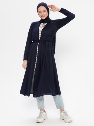 Navy Blue - Knit Cardigans - Peker
