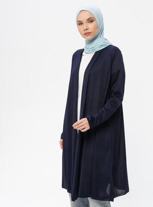 Navy Blue - Shawl Collar - Cardigan