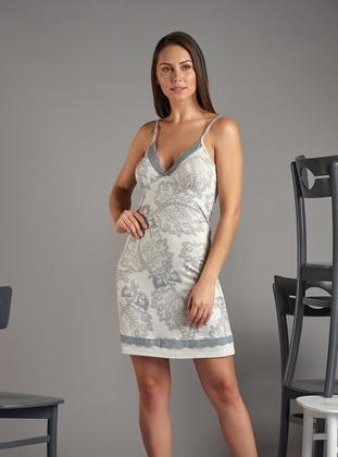 Beige - Floral -  - Nightdress
