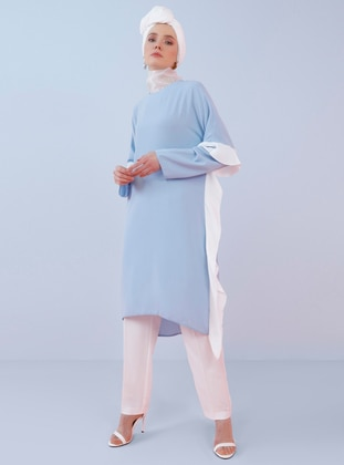 White - Ecru - Blue - Crew neck - Tunic