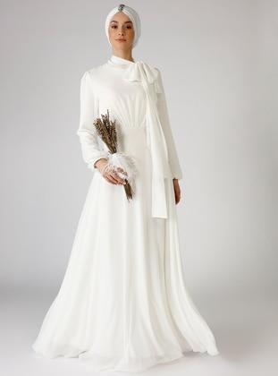 White - Ecru - Fully Lined - Crew neck - Muslim Evening Dress