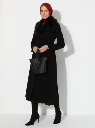 Black - Unlined - V neck Collar - Coat