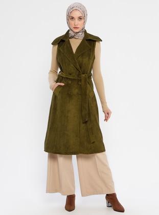 Khaki - Unlined - Shawl Collar - Vest