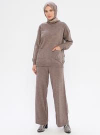Brown - Unlined - Acrylic -  - Knit Suits