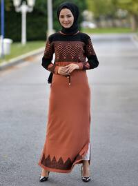 Tan - Multi - Unlined - Round Collar - Acrylic -  - Knit Dresses