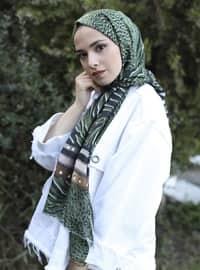 Khaki - Printed -  - Shawl