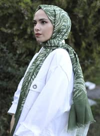 Green - Printed -  - Shawl
