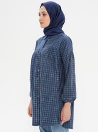 Navy Blue - Checkered - Point Collar -  - Tunic