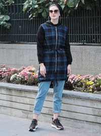 Navy Blue - Plaid - Unlined -  - Puffer Jackets