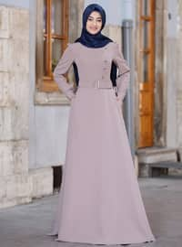 Mink - Crew neck - Unlined - Crepe - Dress
