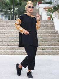Hardal - Siyah - Ekose - Astarsız Kumaş - Takım Elbise