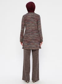 Brown - Unlined - Viscose - Suit