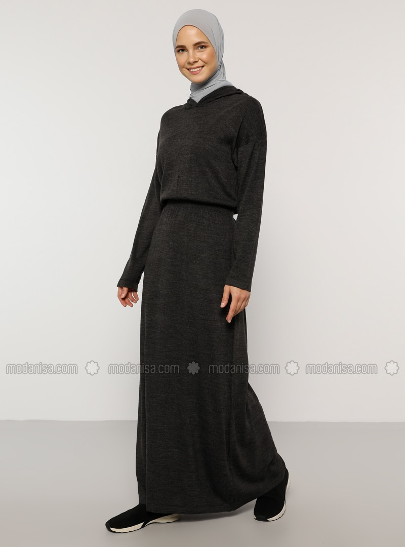 Anthracite - Unlined - Acrylic -  - Dress