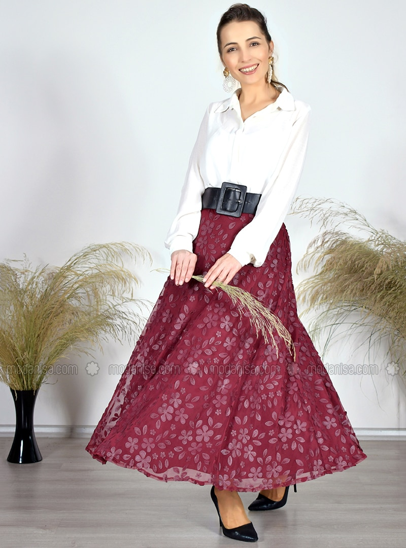 Maroon - Floral - Unlined - Skirt
