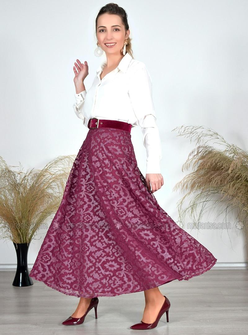 Maroon - Multi - Unlined - Skirt