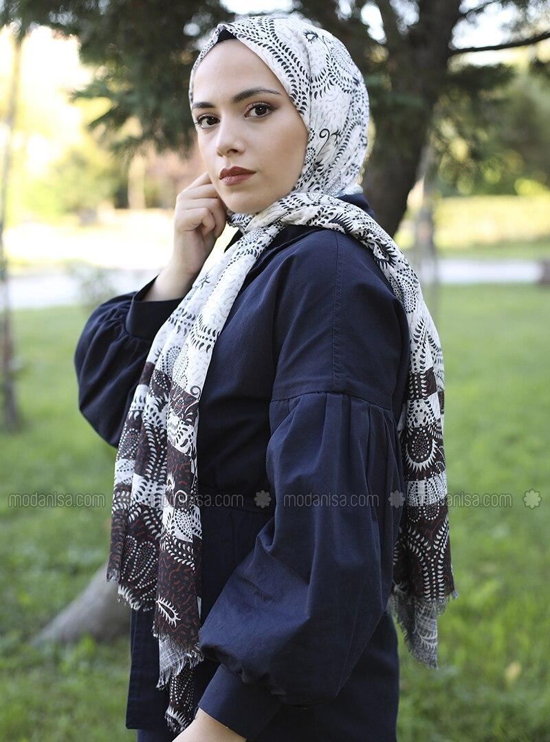 Ecru - Printed -  - Shawl