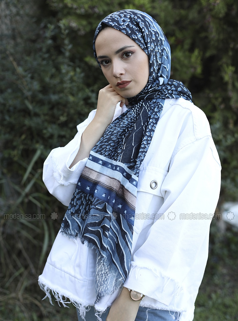 Navy Blue - Printed -  - Shawl
