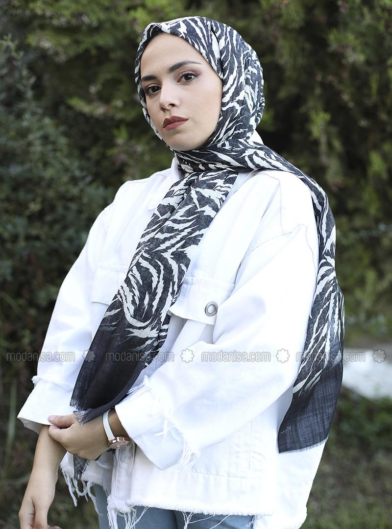 Black - Printed -  - Shawl