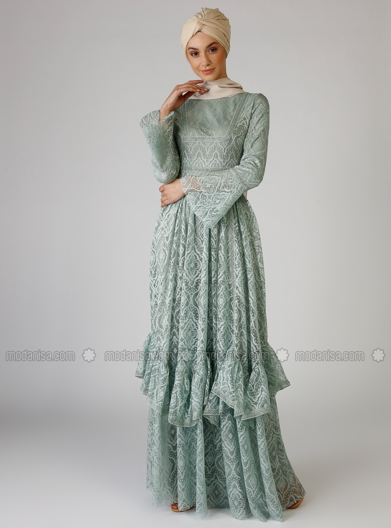 Green Almond - Fully Lined - Crew neck - Muslim Evening Dress