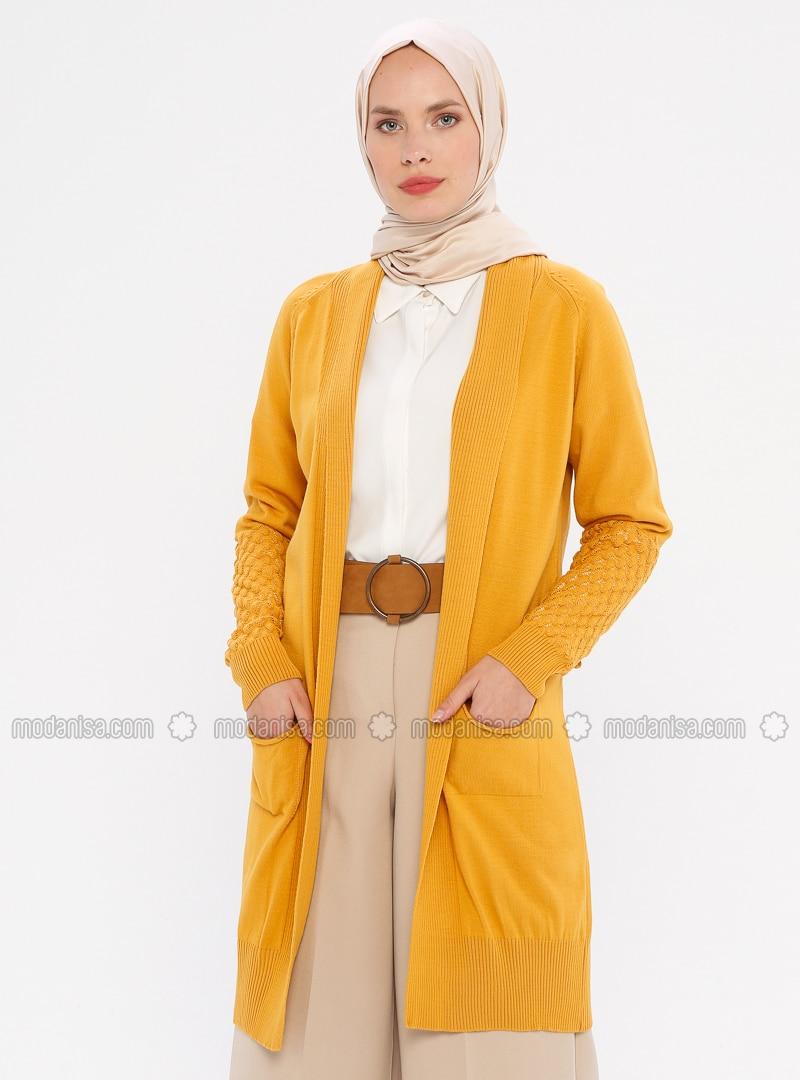Mustard - Unlined - Acrylic -  - Knit Cardigans